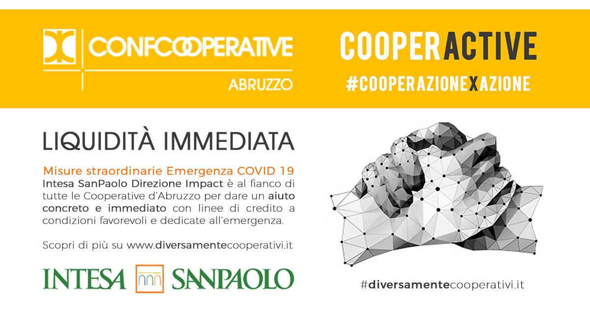 Cooperactive Intesa San Paolo emergenza corona virus confcooperative abruzzo